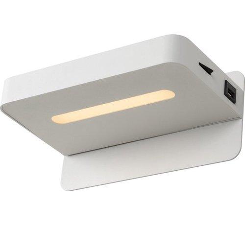 Lucide Lucide ATKIN - Bedlamp - LED - 1x5W 2700K - Met USB oplaadpunt - Wit