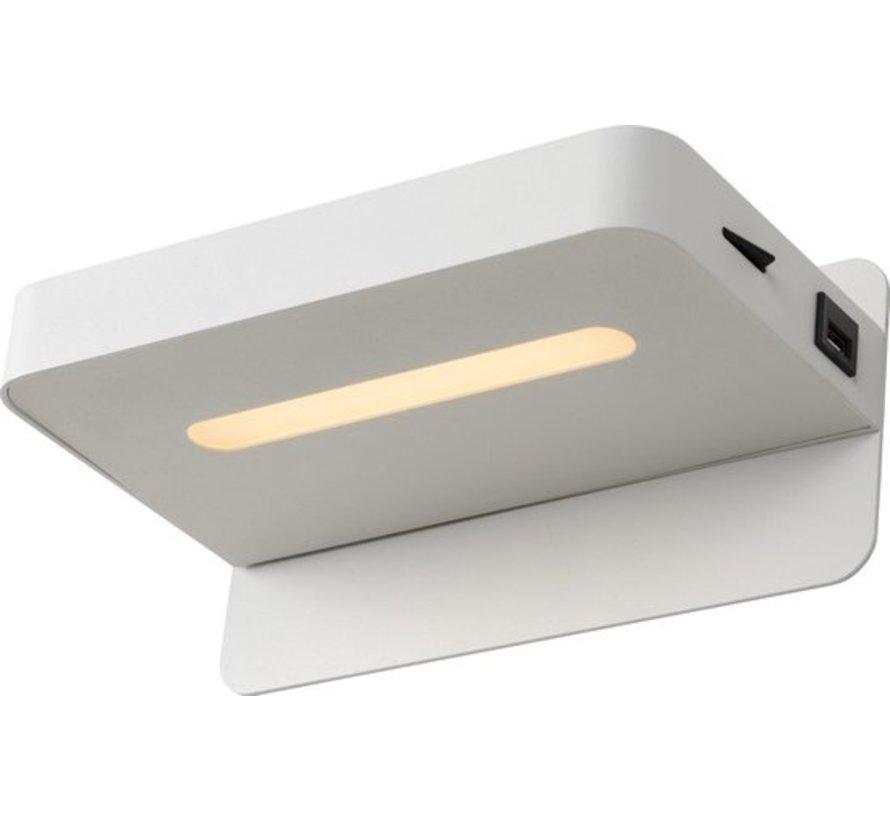 Lucide ATKIN - Bedlamp - LED - 1x5W 2700K - Met USB oplaadpunt - Wit