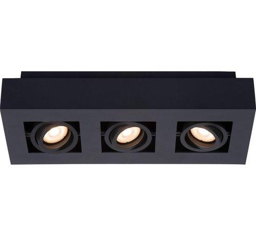 Lucide Lucide XIRAX Plafondspot - LED Dim to warm - GU10 - 3x5W 3000K/2200K - Zwart
