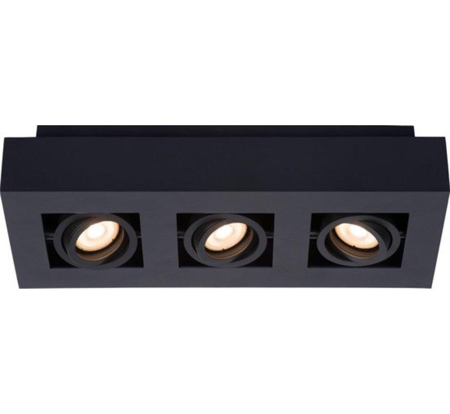Lucide XIRAX Plafondspot - LED Dim to warm - GU10 - 3x5W 3000K/2200K - Zwart