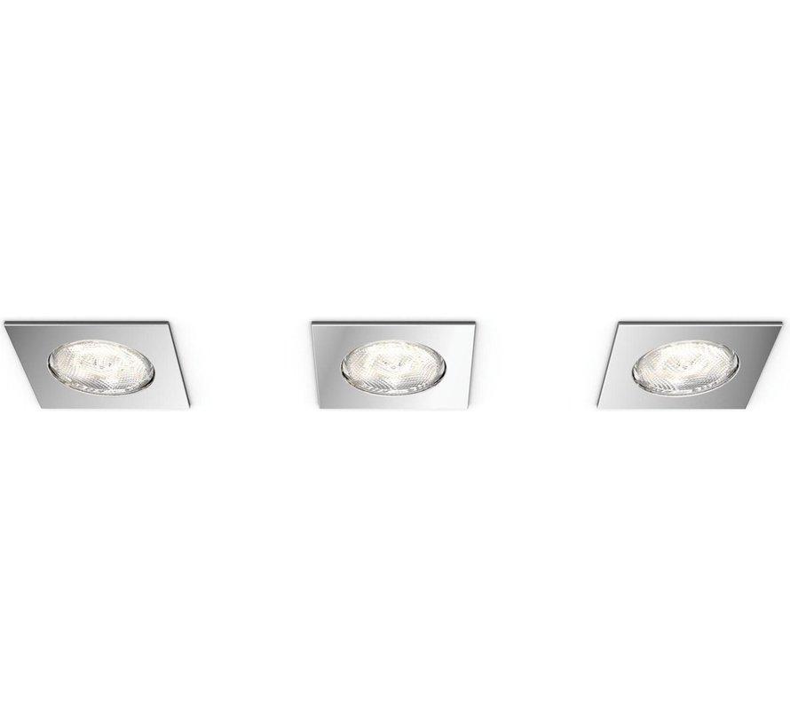Philips Dreaminess - Inbouwspot - 3 Lichtpunten - chroom - 3 x 500lm