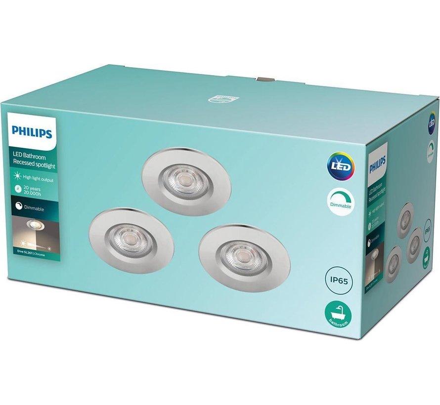 Philips Inbouwspot Dive SL261 Reflector 5,5W Chroom IP65 Warm wit (3 stuks)