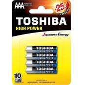 Toshiba Toshiba LR03GCP BP-4 High Power Wegwerpbatterij AAA Alkaline 48 stuks (verpakking 12 x 4 stuks)
