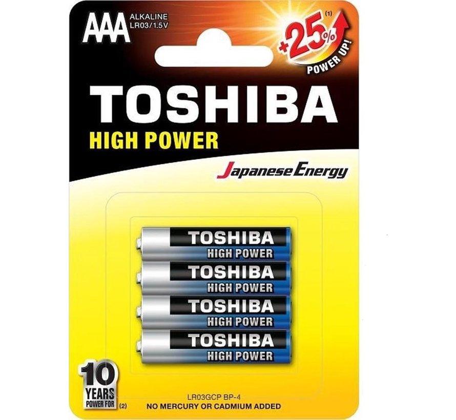 Toshiba LR03GCP BP-4 High Power Wegwerpbatterij AAA Alkaline 48 stuks (verpakking 12 x 4 stuks)