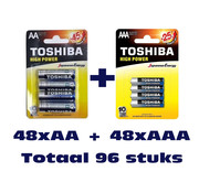 Toshiba Bundel Actie (48 stuks) Toshiba LR03GCP BP-4  AAA Alkaline + (48 stuks) Toshiba LR6GCP BP-4CN  AA Alkaline Wegwerpbatterij Totaal 96 stuks (verpakking 12 x 4 stuks AAA + 12 x 4 stuks AA)