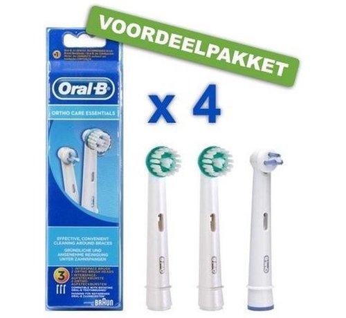 Oral B Oral B Refill Ortho Care Opzetborstel 4 x 3 stuks - Voordeelverpakking