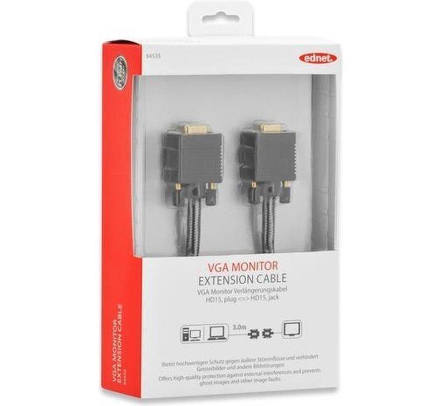 Ednet 84533 VGA kabel 3 m VGA (D-Sub) Zwart