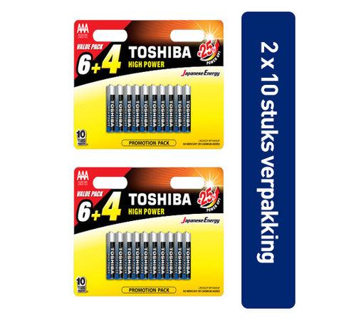 Toshiba Toshiba LR03GCP BP10MS4FCN High Power Wegwerpbatterij AAA Alkaline 20 stuks (verpakking 2 x 10 stuks)