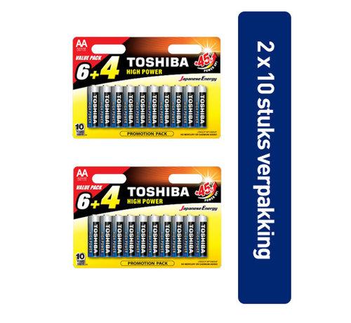 Toshiba Toshiba LR6GCP BP10MS4FCN High Power Wegwerpbatterij AA Alkaline 20 stuks (verpakking 2 x 10 stuks)
