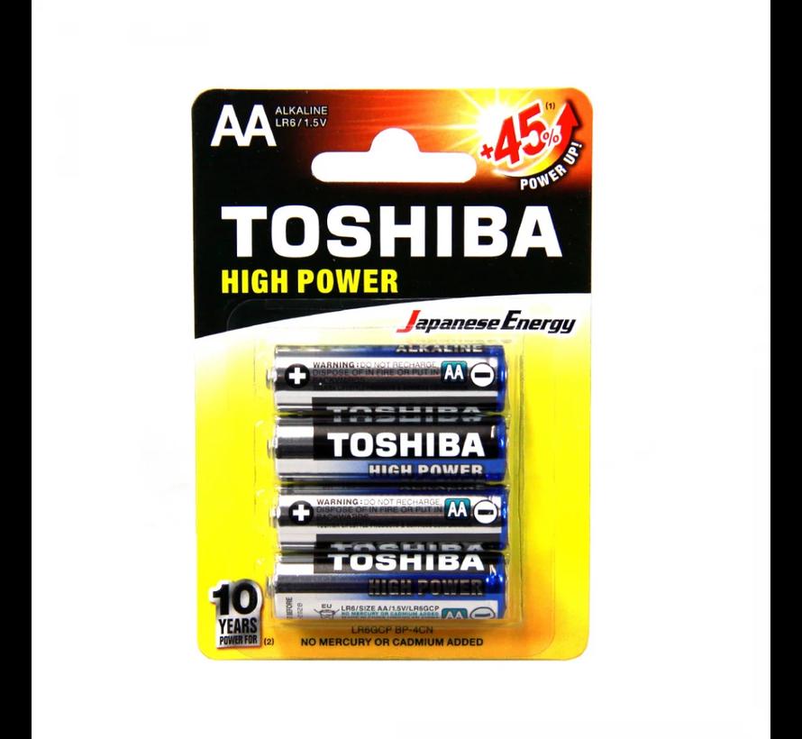 Toshiba High Power Alkaline Wegwerpbatterij AA LR6/1.5V- 4 pack