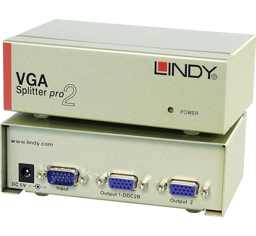 LINDY 32571 VGA Splitter PRO, 2 poorten.