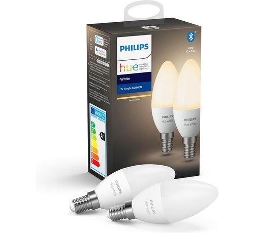Philips Philips Hue Slimme verlichting Kaarslamp - White - E14 - Bluetooth - 2 Stuks