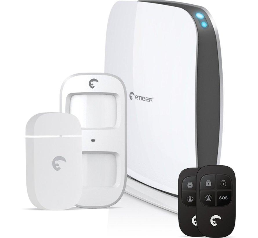 Etiger draadloos WiFi alarmsysteem Secual Box met GSM communicatie via app voor iOS en Android en optionele SIM kaart