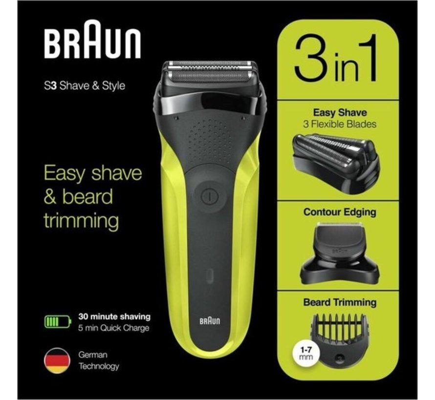 Braun Series 3 300BT - Elektrisch Scheerapparaat - Zwart/Groen