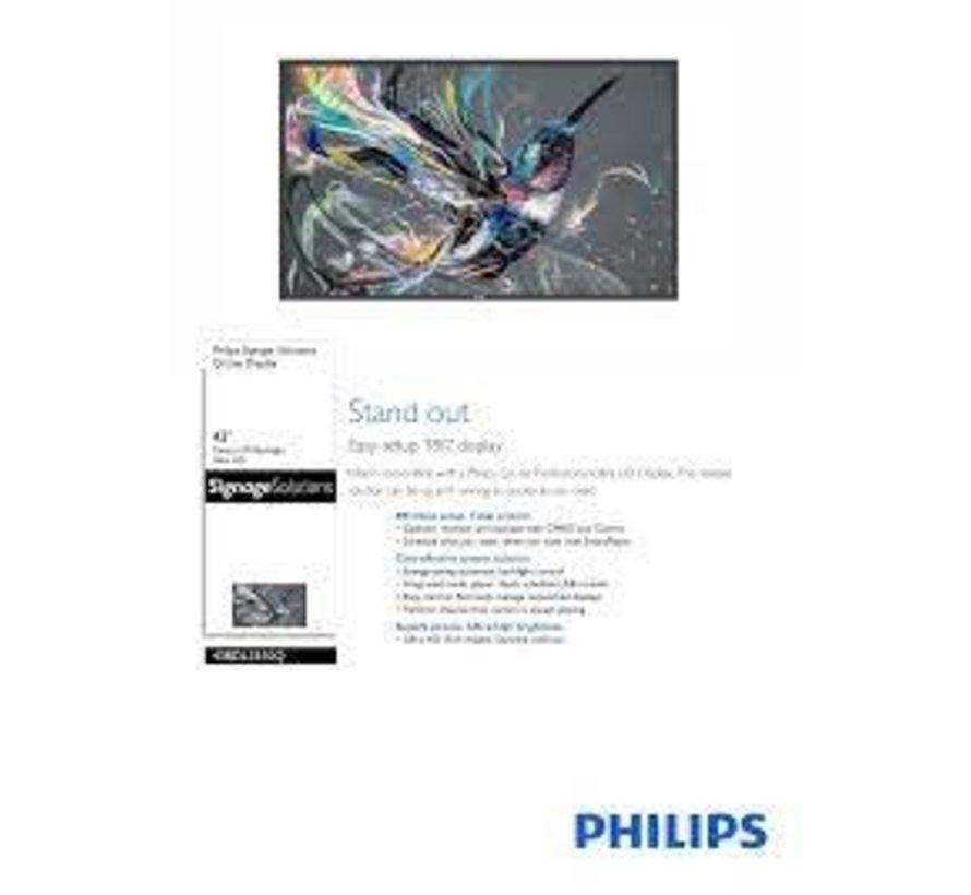Philips 108 cm, 42.5 inch, 3840 x 2160, 400 cd/m², 1300:1, 8 ms, 16:9, 0.315 x 0.315 mm, 1.07 Billion, ADS Public display - Zwart