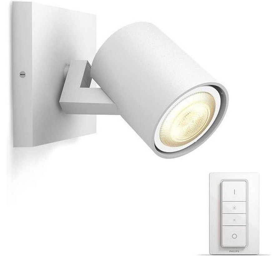 Philips Hue - Runner Hue enkelvoudige spot wit 1x5.5W 230V - White Ambiance Bluetooth inclusief dimmer