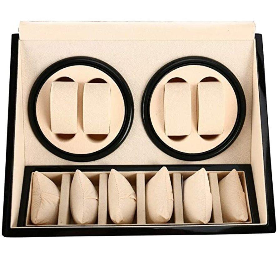 Automatische horloge opwinder in luxe houten gelakte vitrine box voor 4+6 horloges