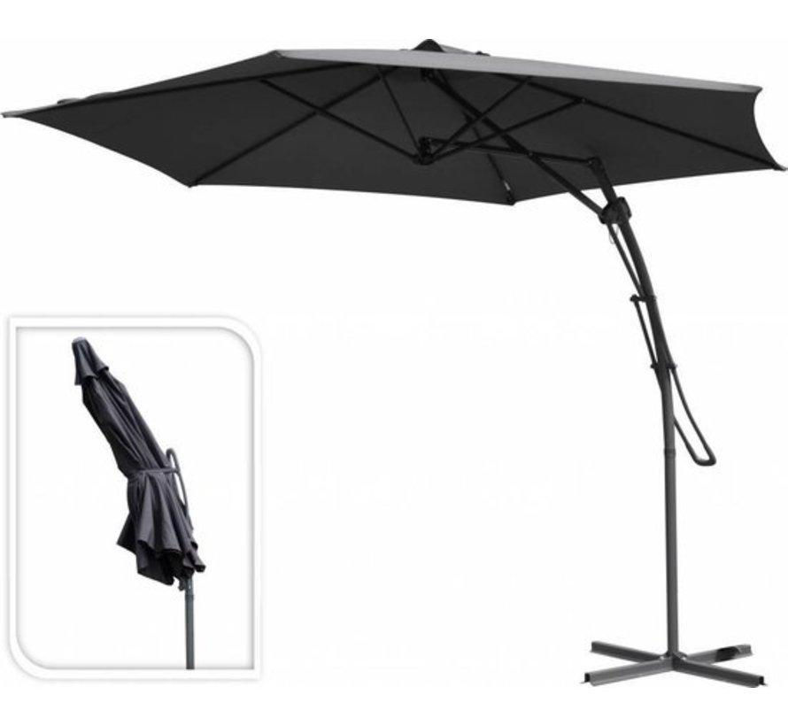 Garden Collection Luxe zweefparasol met Push-up Systeem  ⌀ 300 CM. Design hangparasol antraciet voor tuin en buiten