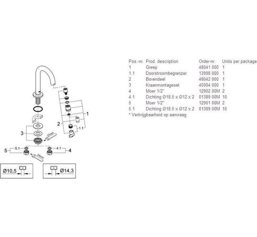 GROHE Universal Fonteinkraan - 1/2'' - C Uitloop - Zonder Waste - Chroom
