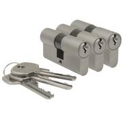 Nemef Nemef veiligheidscilinder 111/9 - Met boorbelemmering - Anti slagpick - SKG** - Lengte 60mm - Met 6 sleutels - 3 cilinders in verpakking