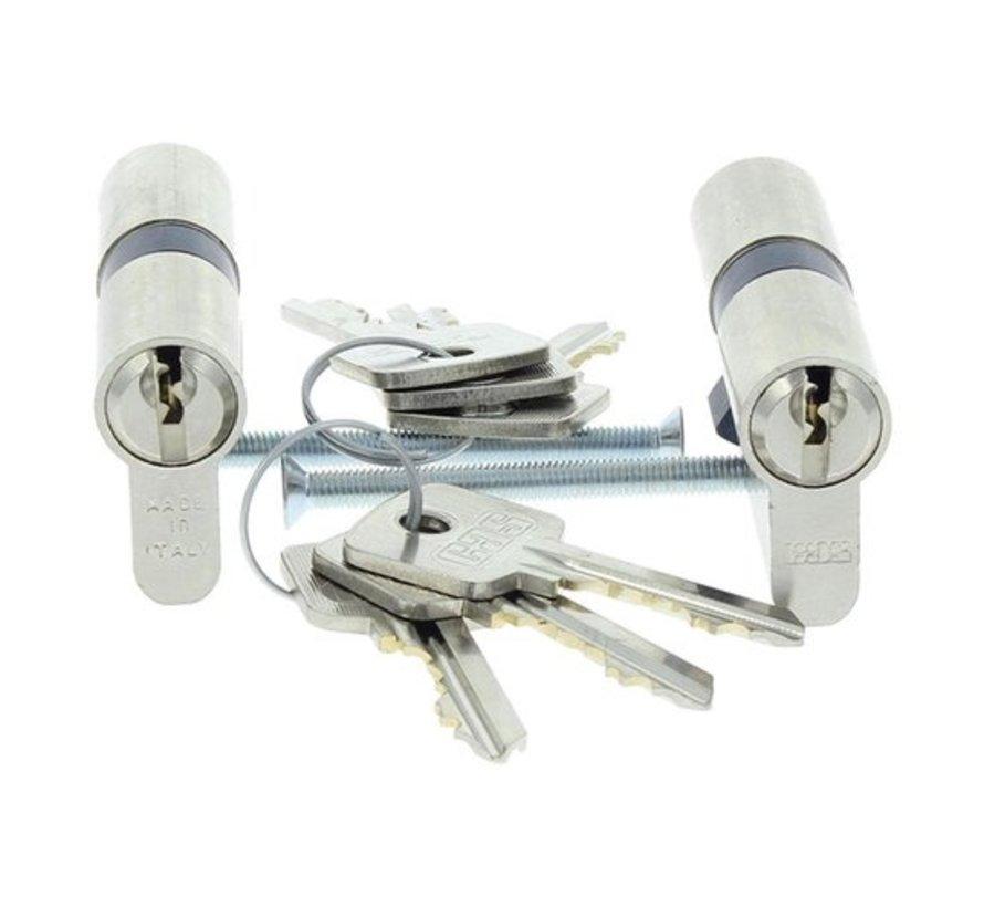 Nemef cilinder 91060 - Met 6 sleutels - In zichtverpakking - 2 cilinders in verpakking