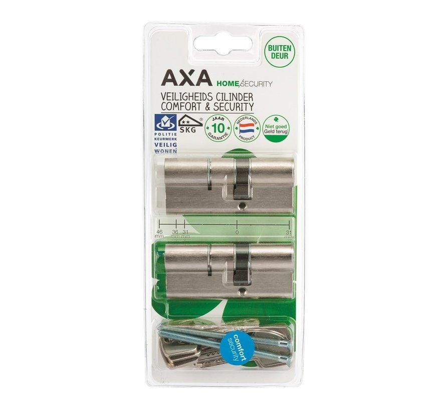 AXA Dubbele veiligheidscilinder (2x) Comfort Security verlengd 30-45