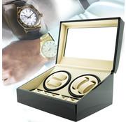 DiLeeBee Automatische horloge opwinder in luxe houten gelakte vitrine box voor 4+6 horloges