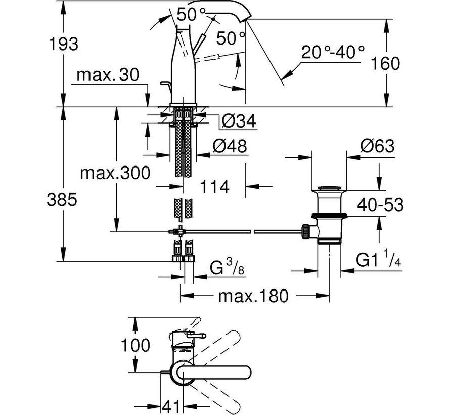 GROHE Essence New Wastafelkraan – Medium - Met trekwaste - Hard graphite geborsteld (mat antraciet) - 23462AL1