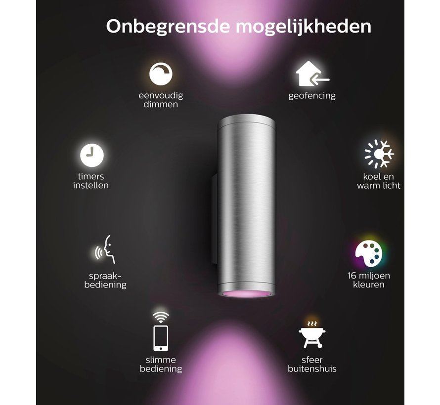 Philips Hue Outdoor Appear Inox Wandlamp - White and Color Ambiance - Gëintegreerd LED - Roestvrijstaal - 8W - IP44