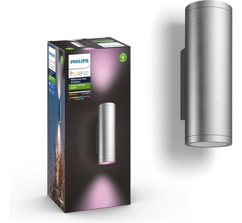 Philips Philips Hue Outdoor Appear Inox Wandlamp - White and Color Ambiance - Gëintegreerd LED - Roestvrijstaal - 8W - IP44
