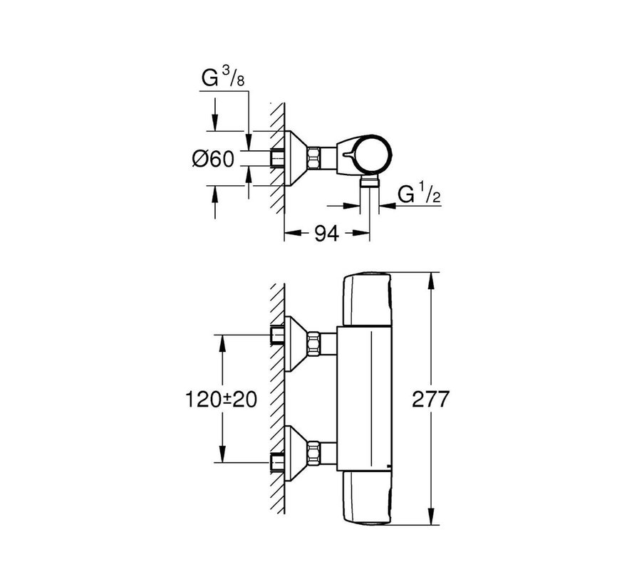 GROHE Precision Trend New Thermostatische Douchekraan - 12 cm hartafstand