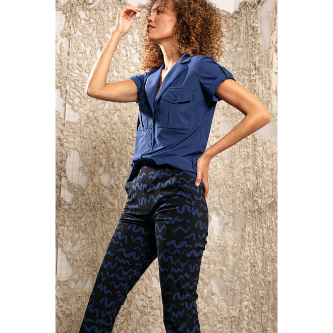 STUDIO ANNELOES FLAIR SMALL TWIRL TROUSERS 04863 BLUE