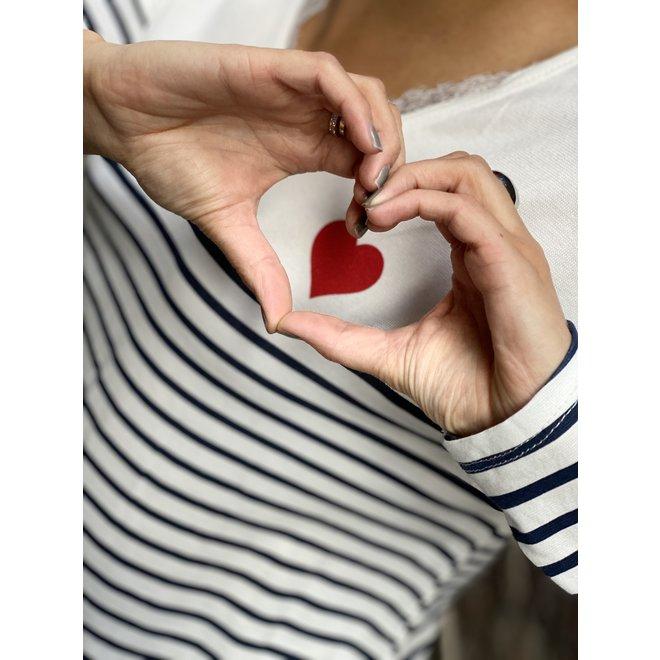 SHIRT KNIT HEART WHITE STRIPE