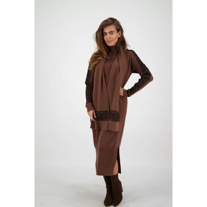 W2135A SCARF 3D DARK BROWN