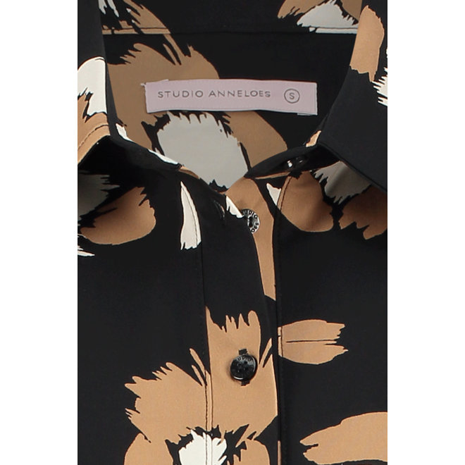 04926 POPPY FLOWER SHIRT 3/4 BLACK/CAMEL