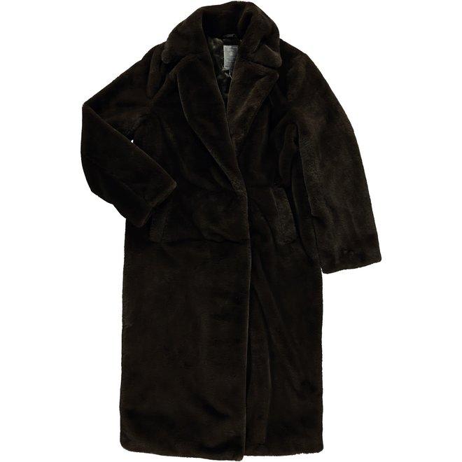 08556-27 COAT LONG FAKE FUR BLACK