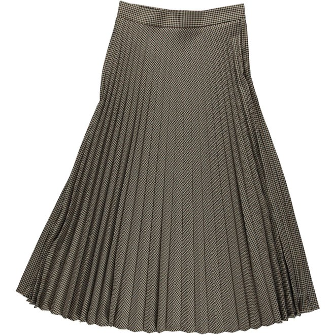 06514-10 SKIRT CHECK PLEADS BROWN COMBI