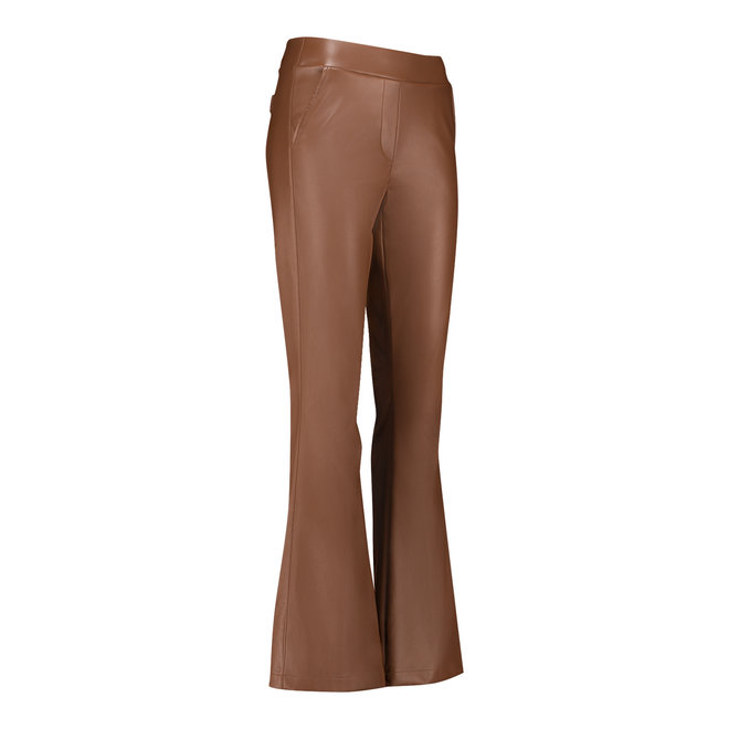 05020 FLAIR FAUX LEATHER TROUSERS COGNAC