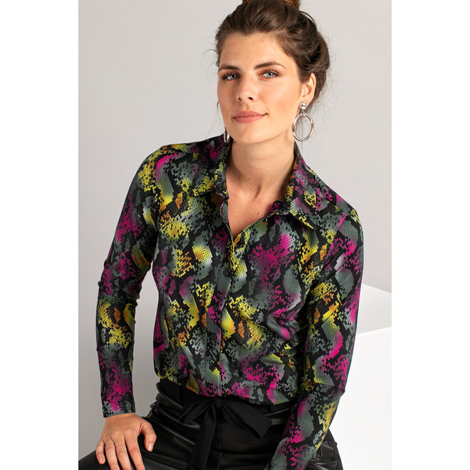 POPPY BIG SNAKE SHIRT 05049 BLACK/GREEN