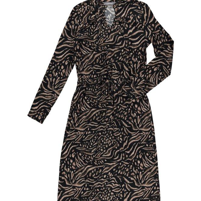 DRESS 07896-20 BLACK/SAND COMBI