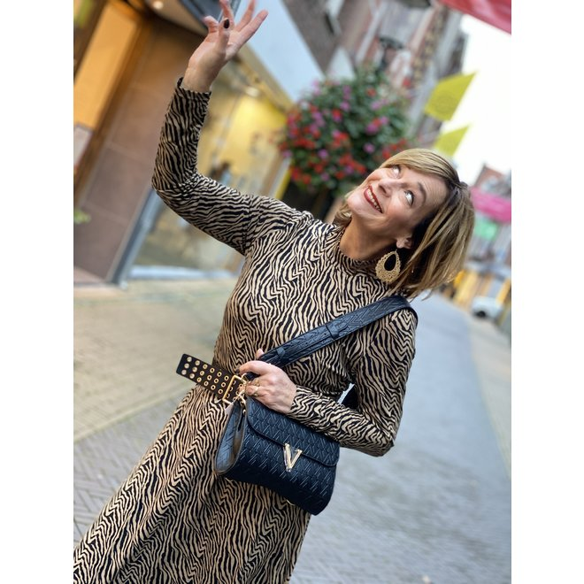 DRESS BI-COLOR ZEBRA KNITTED 07908-20