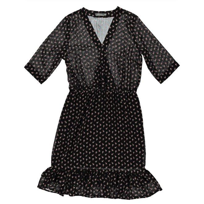 DRESS 17102-20  BLACK PINK COMBI