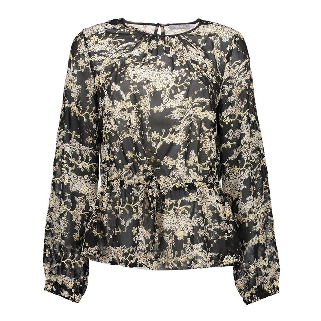 03880-99 BLOUSE AOP WITH STRING BLACK/OFF-WHITE/GOLD