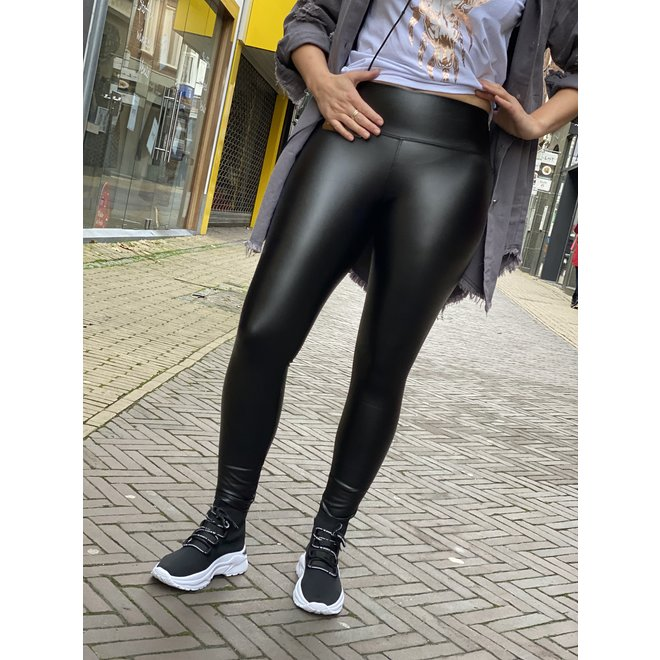 LEATHER LOOK LEGGING BLACK