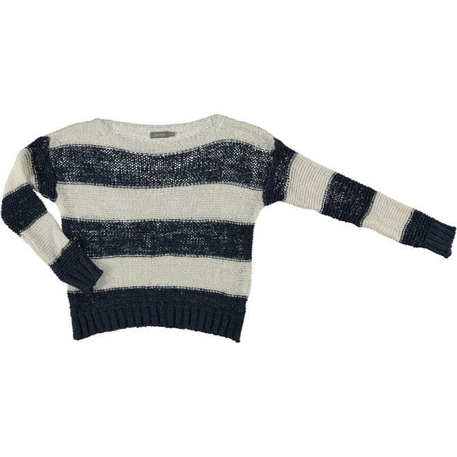 PULLOVER KNITTED STRIPED 14041-70 OFF-WHITE/BLUE 2102