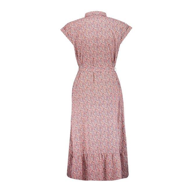 LONG DRESS 17082-21 OLD PINK/BLUE/ECRU 2103