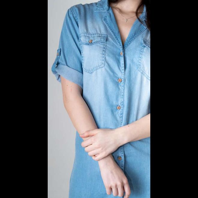 JEANS BUTTON DRESS LIGHT BLUE