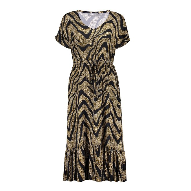 LONG DRESS AOP 17062-40 BLACK/OCRE 2103