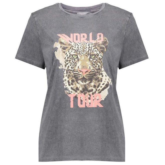 12108-24 T-SHIRT GARMENT DYED TIGER HEAD ANTHRACITE 2103
