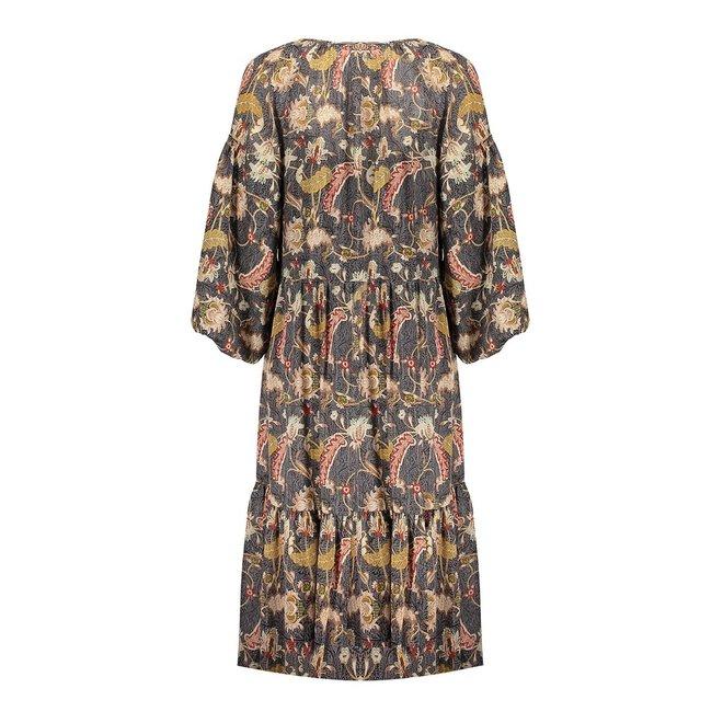 DRESS 17331-26 GREY/MUSTARD 2104